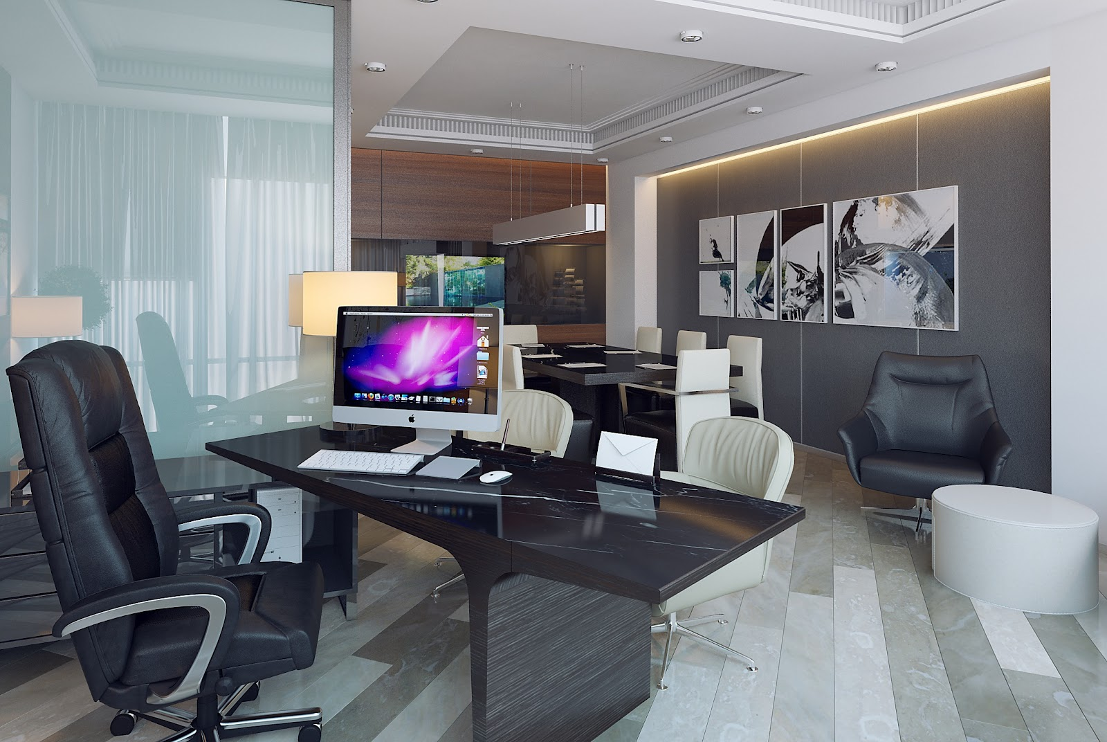 3d design office of executive director for Director office room design