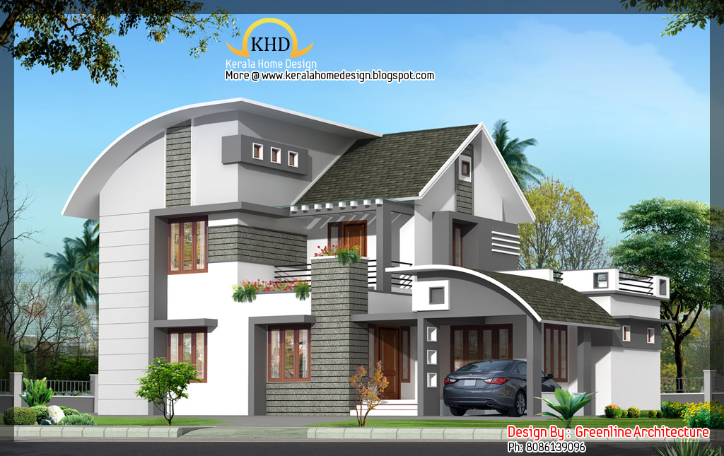 House elevation 2000 sq ft kerala home design and for Home designs kashmir