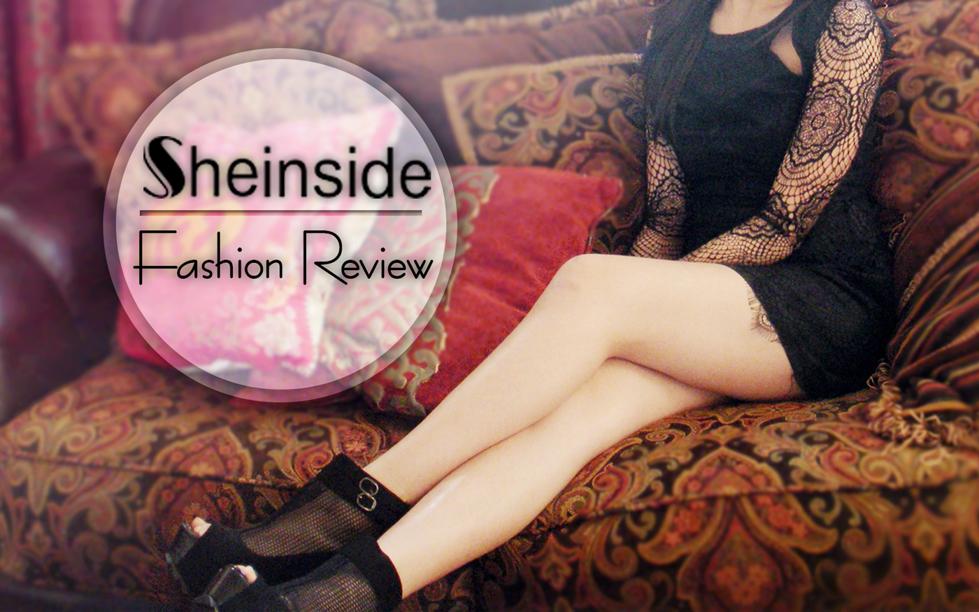 The Eat My Knee Socks intro for the fashion review of a black lace bodycon cutout dress from SheInside.