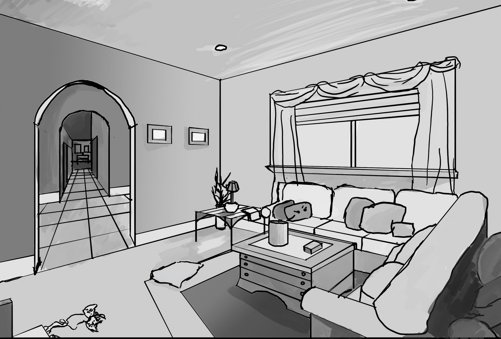 lcad perspective for game art living room. Black Bedroom Furniture Sets. Home Design Ideas