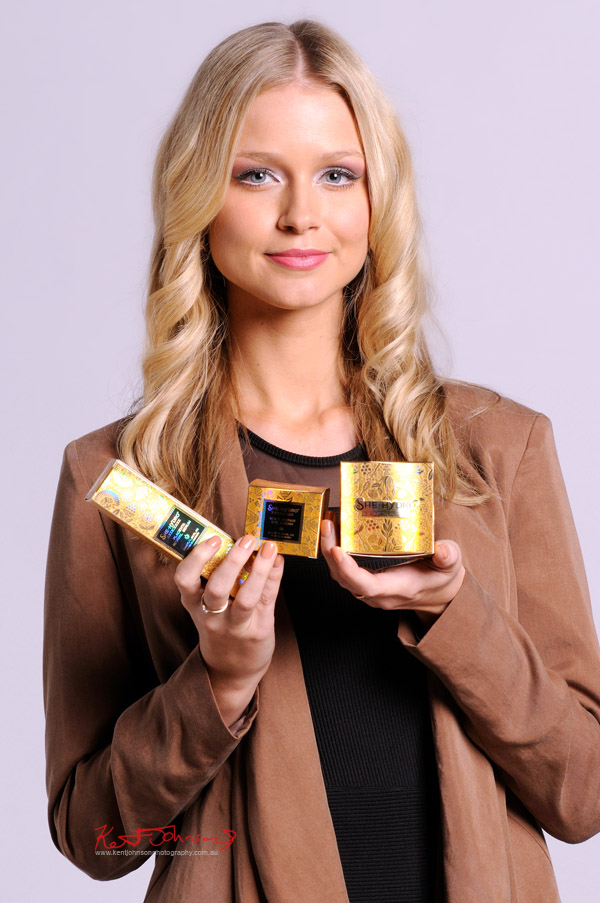 Commercial beauty product and promotional photography with Miss Universe Australia Renae Ayris