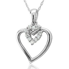 valentines10k white gold heart shaped drop diamond pendant necklace Valentines Heart Shaped Pendant Necklace