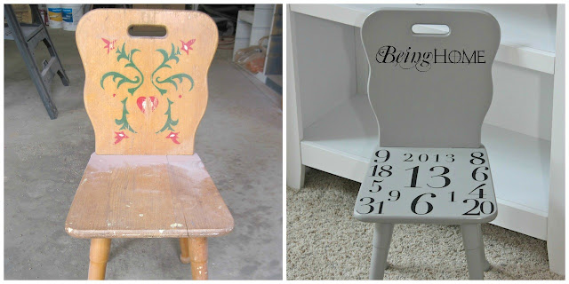 Chair makeover - before and after.