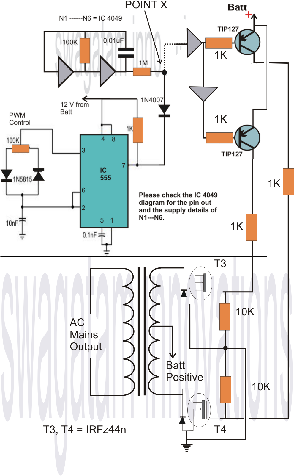 Homemade VA Power Inverter Circuit - Circuit diagram of an inverter
