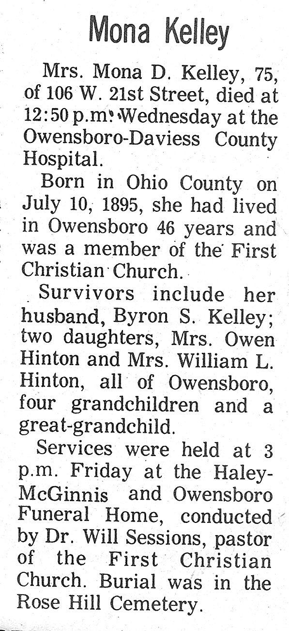 ohio county  kentucky history  obits