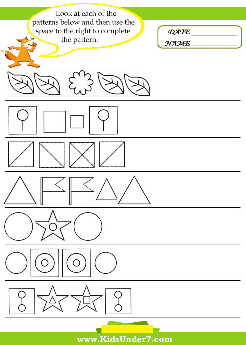 math worksheet : kids under 7 pattern recognition worksheets : Pattern Worksheets For Kindergarten Printable
