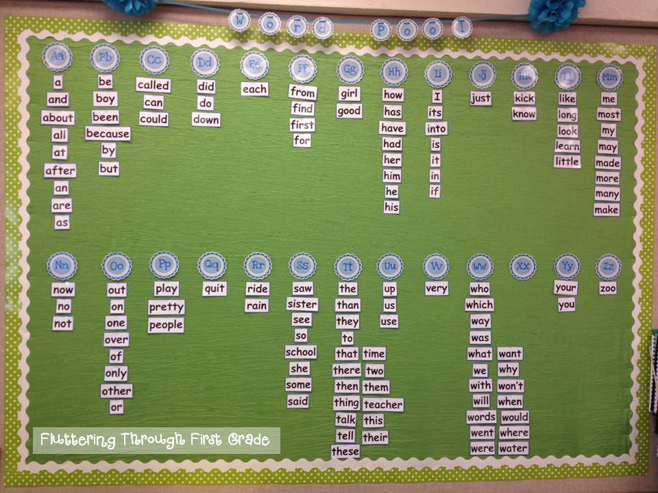 Classroom Decoration Word Worksheet : Fluttering through first grade word wall spin freebie