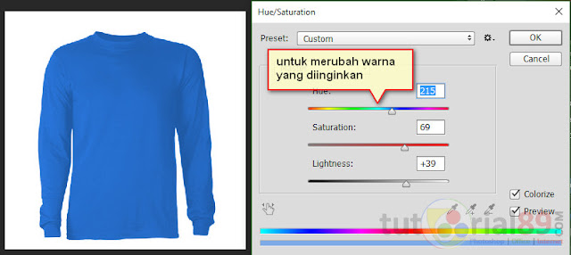 Cara mengganti warna dengan hue/saturation photoshop