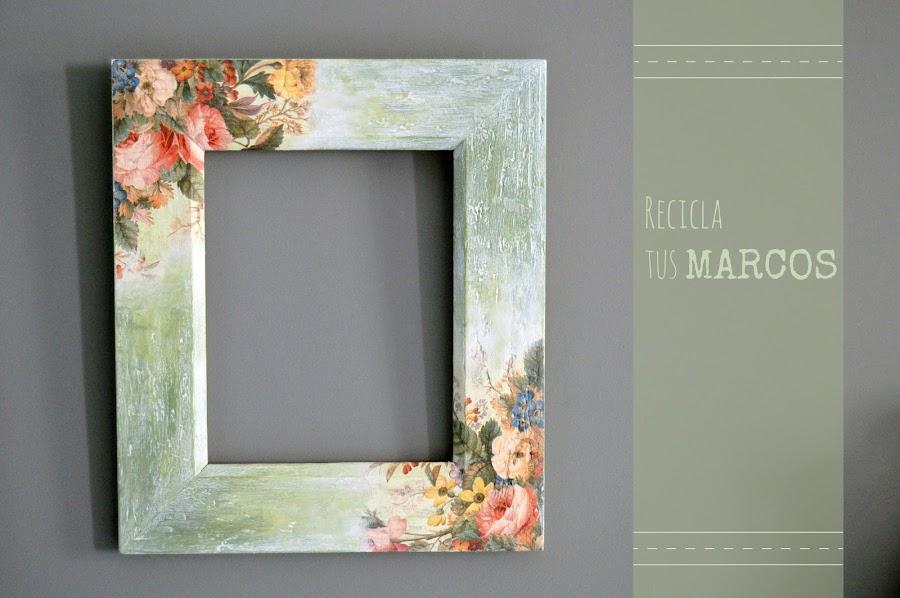 Ideas para reciclar marcos viejos manualidades for Como hacer un espejo con marco de madera