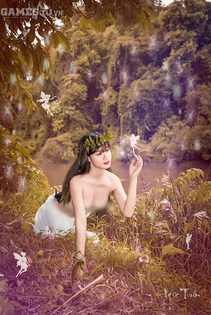 Ngọc Trần bán khỏa thân mộng mơ trong rừng 4