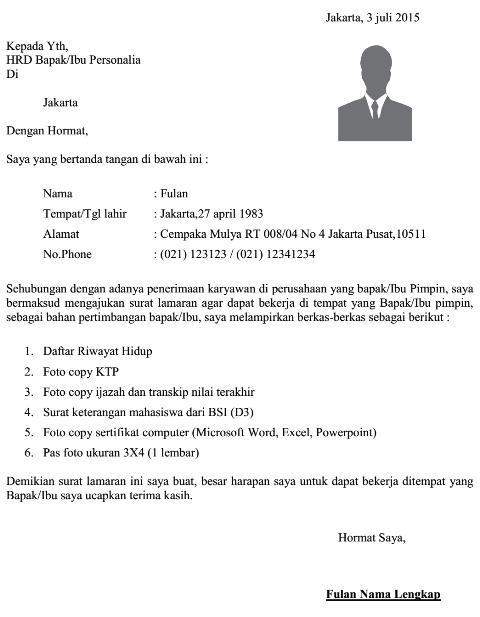 Dokumen Pekerjaan Contoh Surat Lamaran Kerja Umum