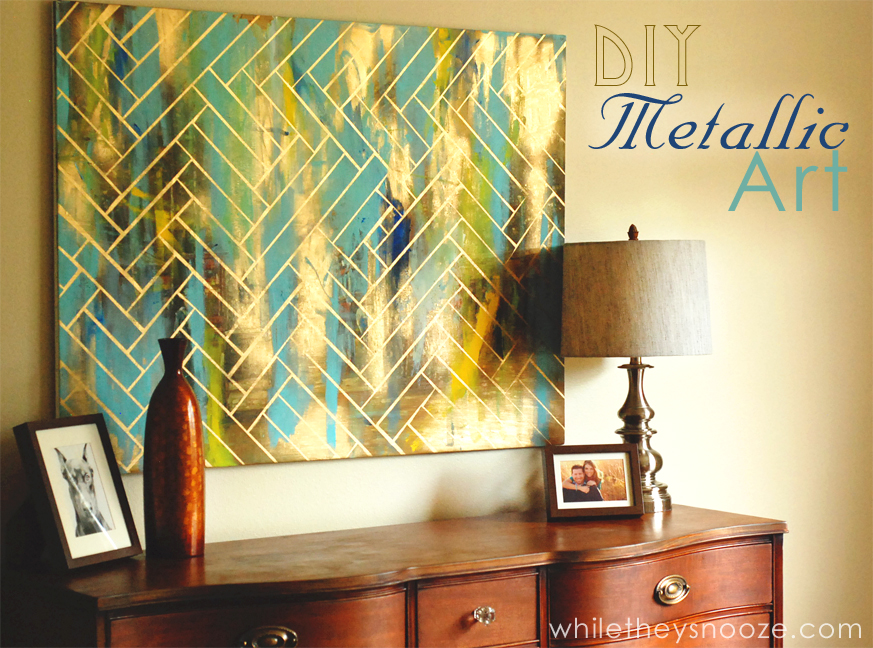 While they snooze diy herringbone metallic artwork easy for Cheap wall art ideas