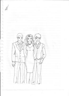 Desenho de três amigos