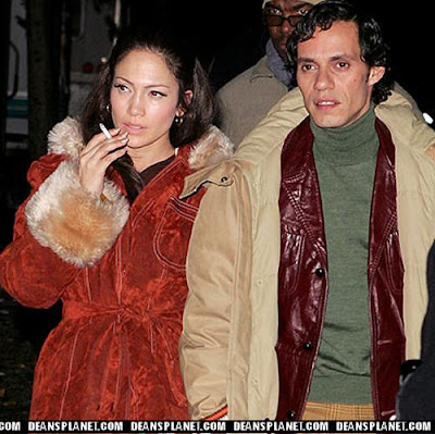 Picture of Jennifer Lopez smoking a cigarette.
