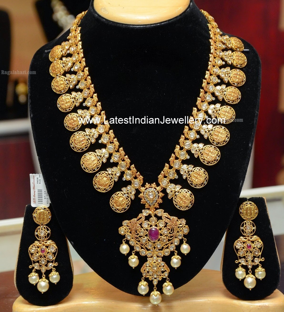 Latest Indian Jewellery Designs 2015: Grand Kasu Mala Set