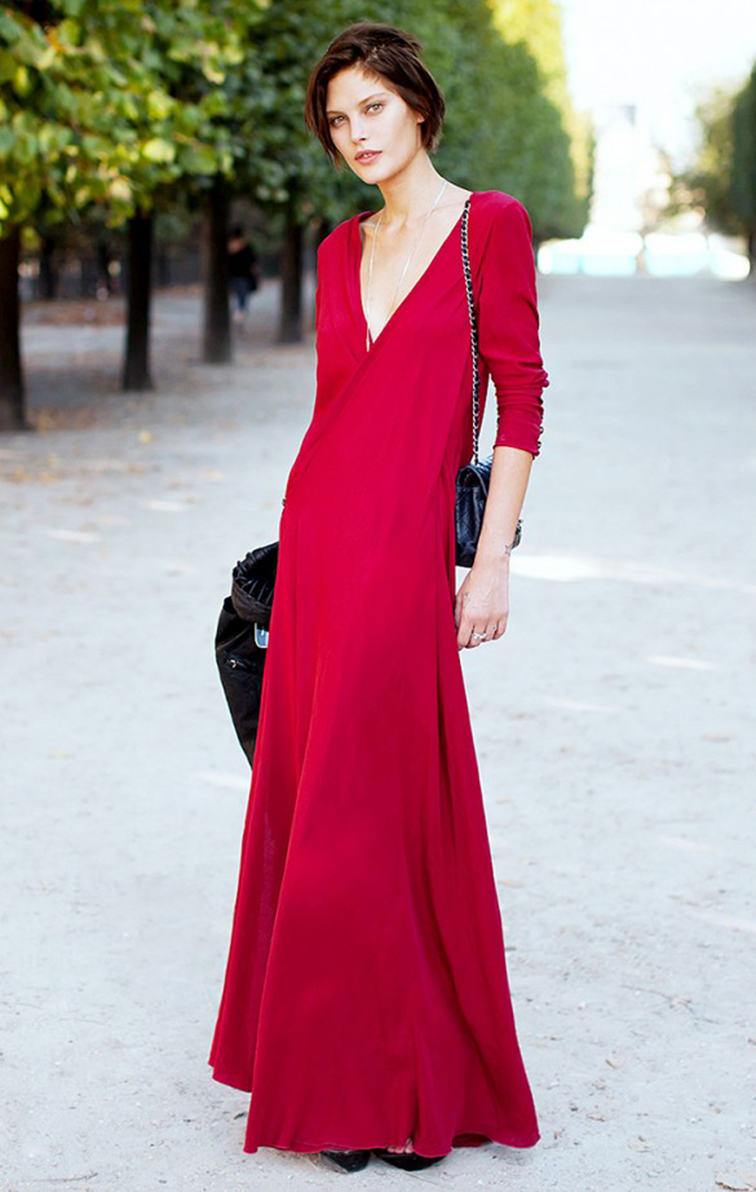 Catherine McNeil, model off duty, street style, red maxi dress