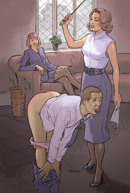 Sissy spanked in his panties by mommy 6