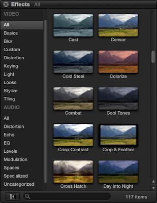 FCP X Effects/Presets window