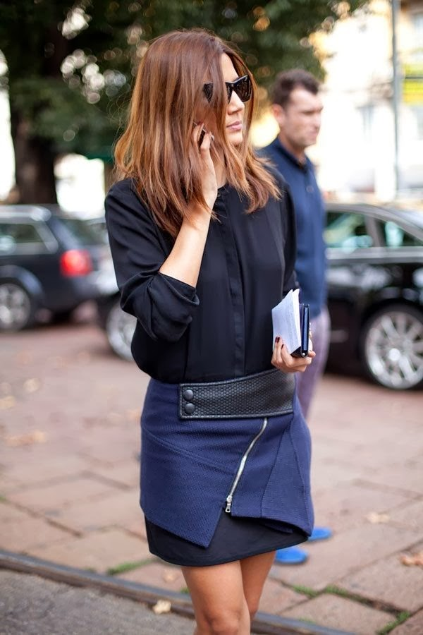 Black sleeve top and navy skirt