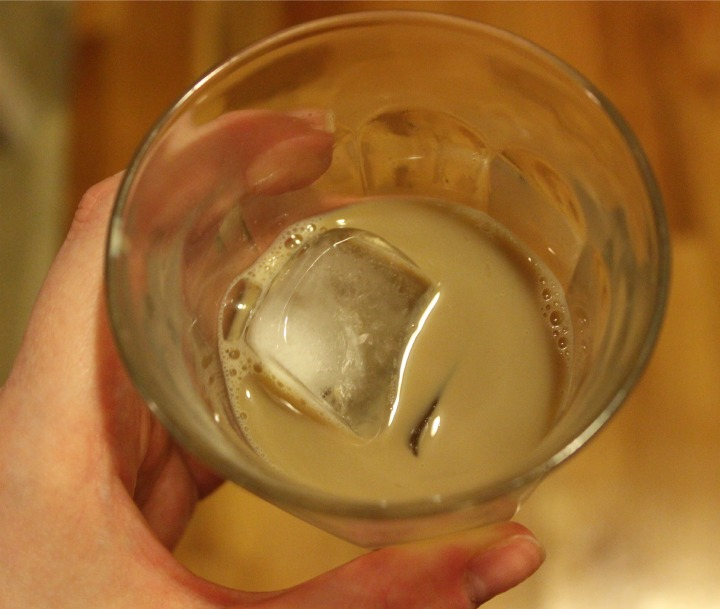 Gevalia Iced Coffee with Almond Milk over ice