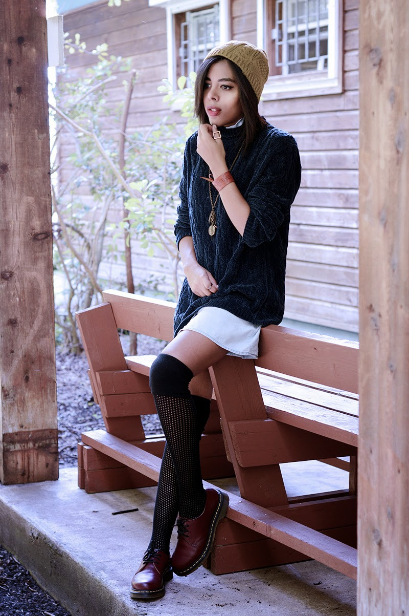 Miami Fashion Blogger Anais Alexandre of Down to Stars in a vintage cable knit sweater with H&M jean dress and Forever 21 beanie with Doctor Martens