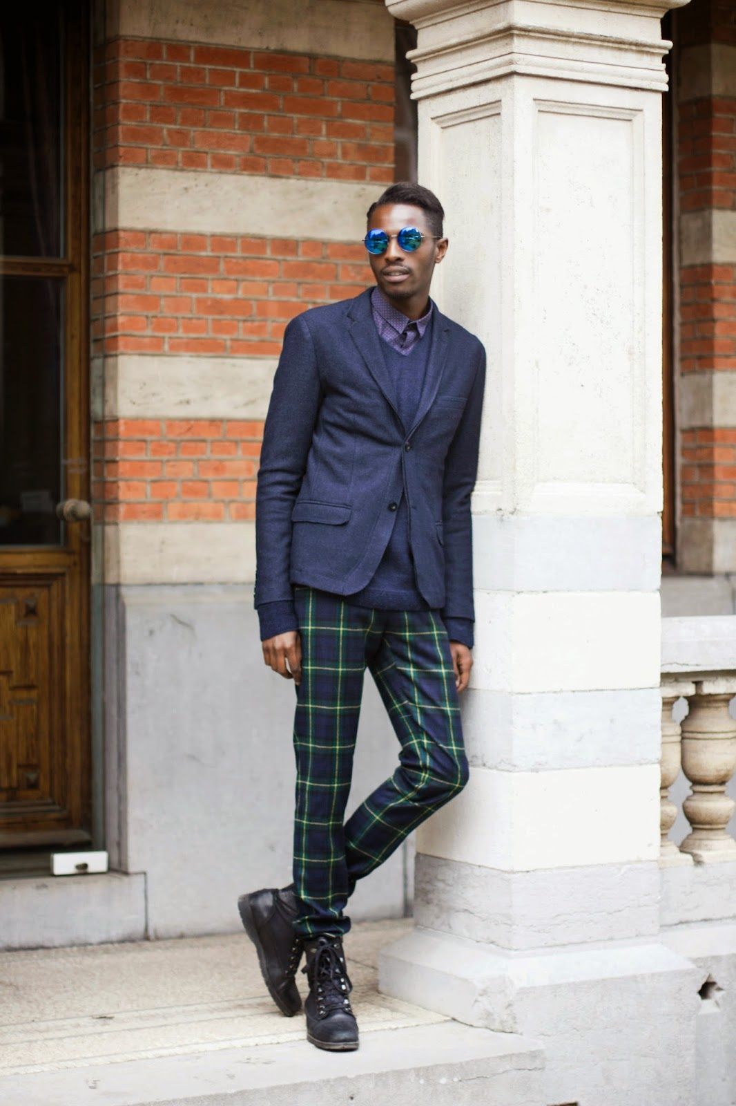 Blue Tartan on a preppy look emblem eyewear sunglasses
