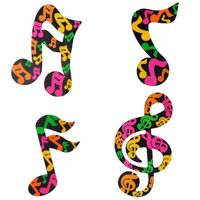 Desenho de Notas Musicais colorido