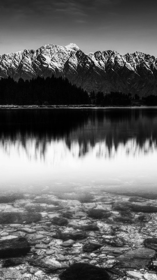 Black And White Snow Mountain Lake  Galaxy Note HD Wallpaper
