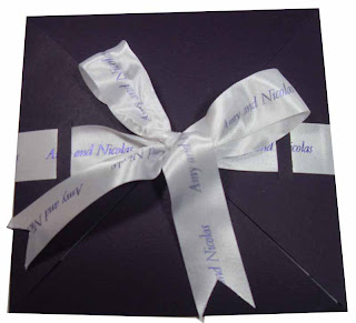 with ribbon wedding invitations