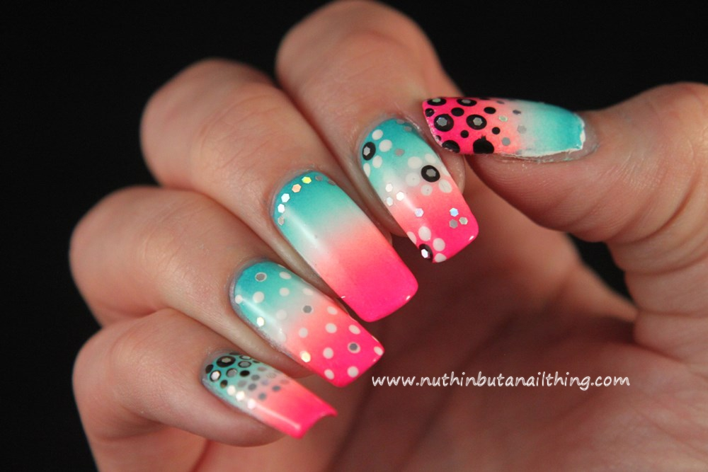 nuthin' but a nail thing: Bright skittle nail art