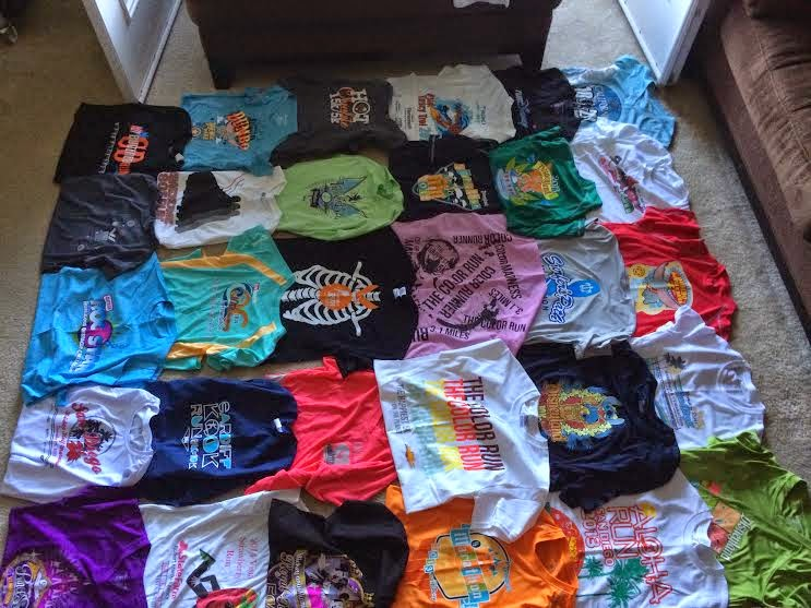 My shirts laid out in the blanket arrangement