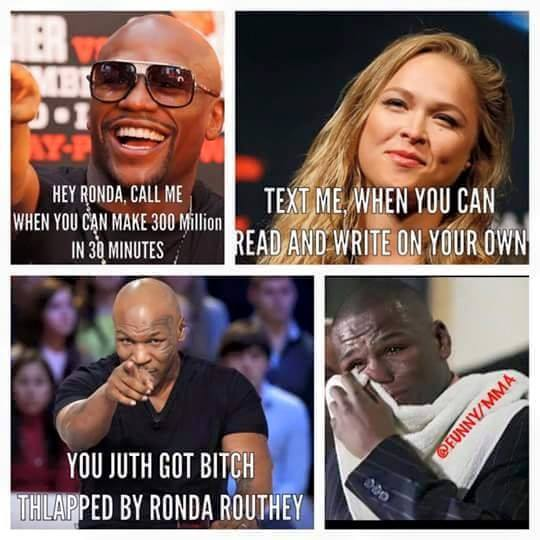 rousey floyd mayweather jr vs ronda rousey meme powcast sports hub
