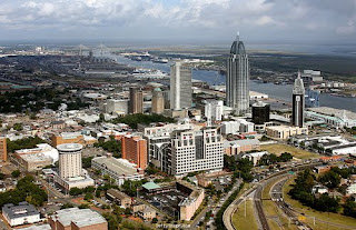 a sky view of Downtown Mobile