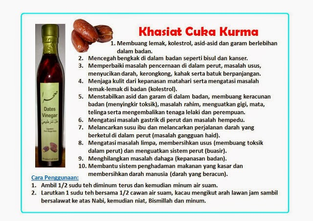 khasiat cuka kurma