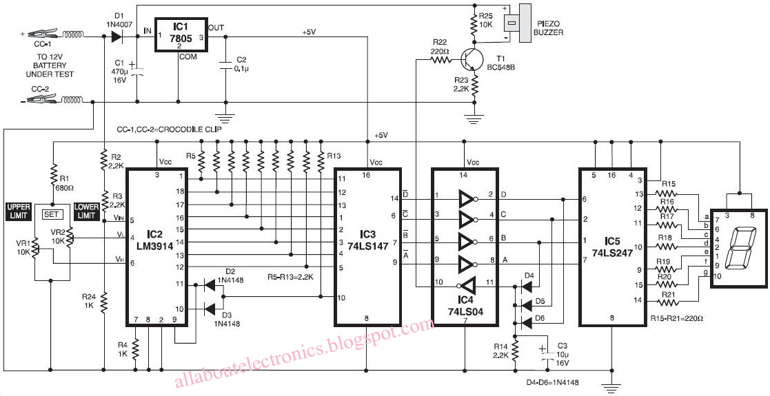 lead acid battery charge monitor circuit diagram