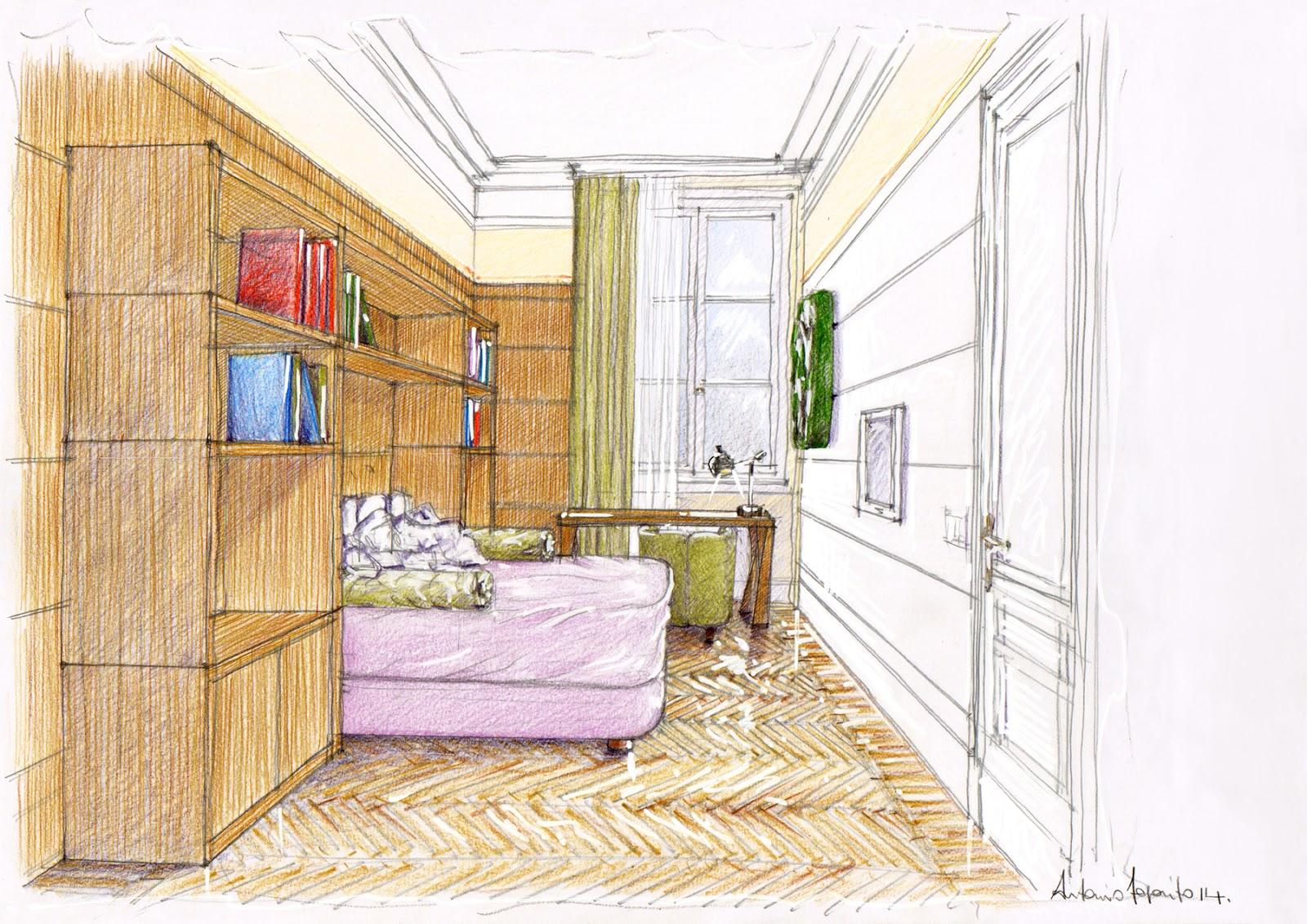 Vent 39 anni di disegni dell 39 arch antonio saporito arredo di una camera - Disegni di camere da letto ...
