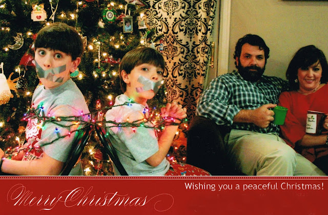 funny christmas card kids tied up