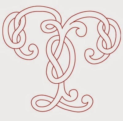 T Celtic calligraphy monogram tattoo stencil