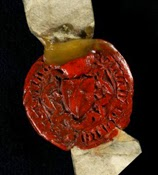 Seal of Benedict Zakarie, Italian merchant living in London, 1360 (TNA E 43/744)
