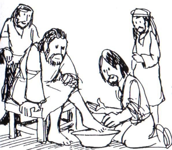 Jesús lava los pies a sus discipulos para colorear