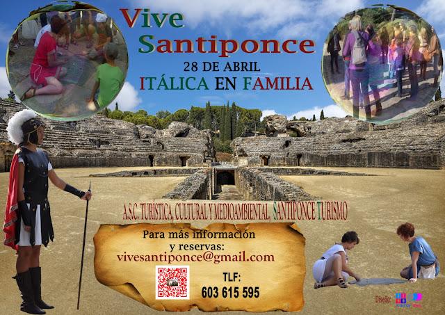 Cartel anunciador del evento Itálica en familia-Santiponce