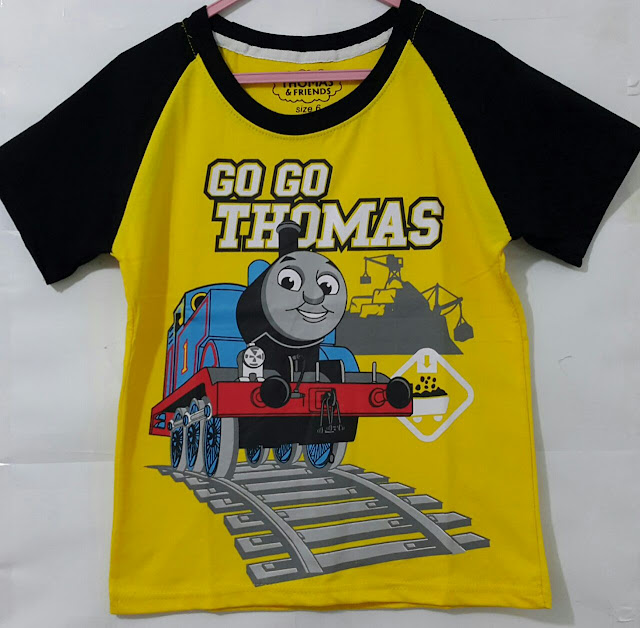 Baju Anak Karakter Thomas Go Size 7 - 10 Tahun