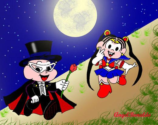Sailor Monica eCebolinha Kamen por AngelBonaldo