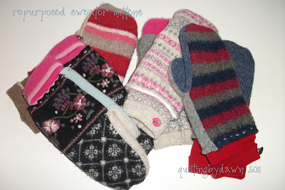 The mittens 2nd from the right were made during the tutorial.