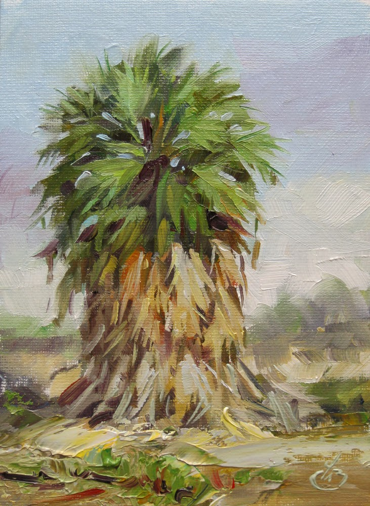 Tom brown fine art palm tree growing wild 5x7 inch plein for Painting palm trees