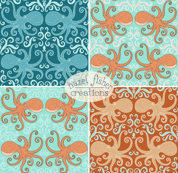 Cephalopod Octopus Spoonflower design alternative colours hazelfishercreations