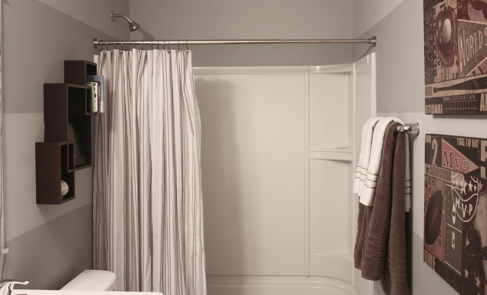The yellow cape cod boy 39 s bathroom reveal using two Bathroom shower curtain ideas