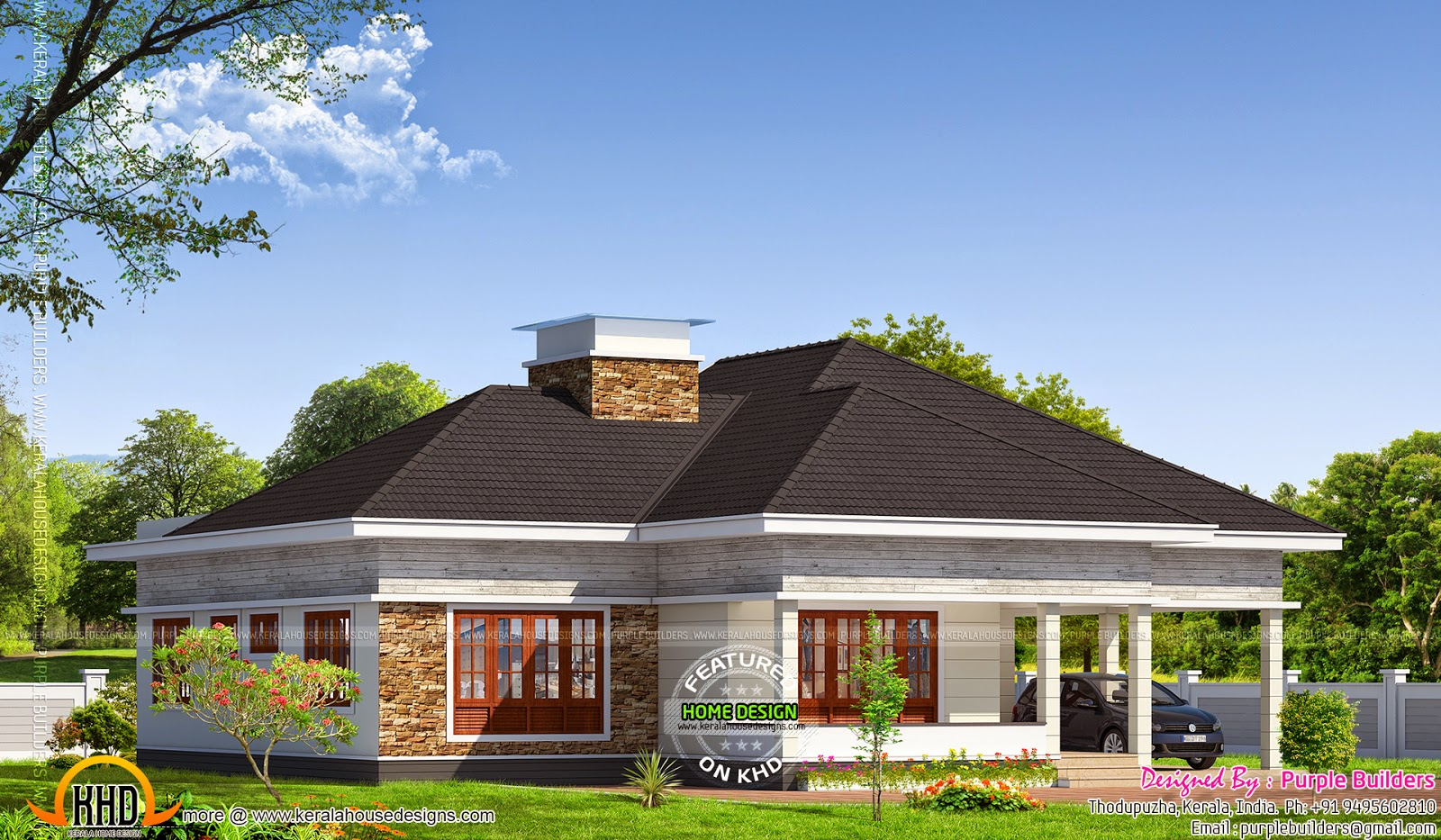 Kerala bungalow elevation kerala home design and floor plans for Elevation of kerala homes