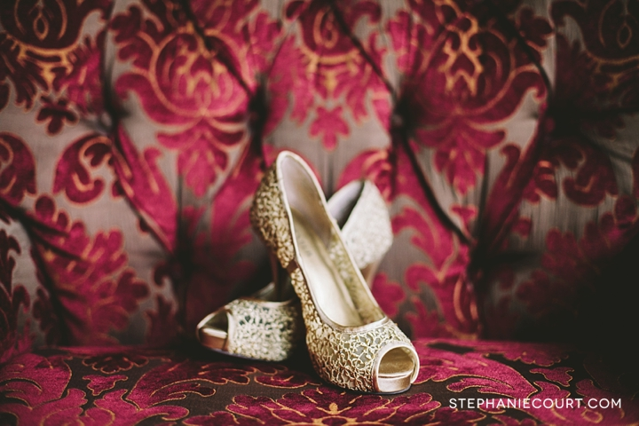 gold peep toe wedding shoes