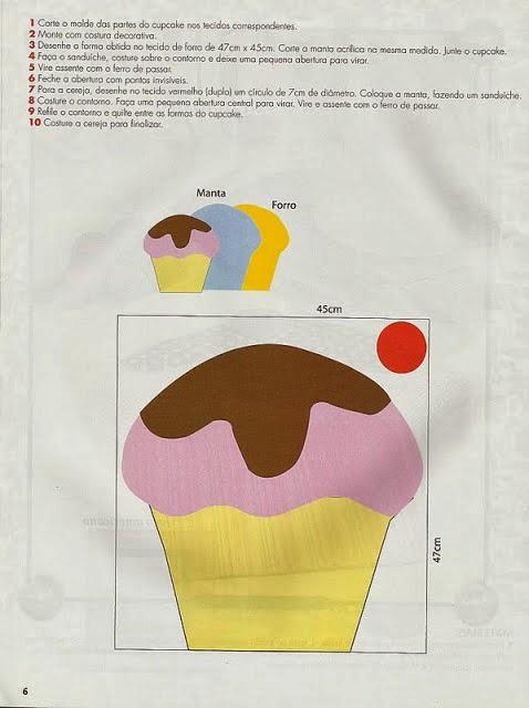 Almofada de cupcake passo a passo com moldes